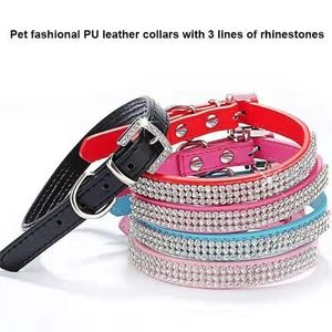 Dog Cat Diamond Bling Rhinestone PU Leather Collar